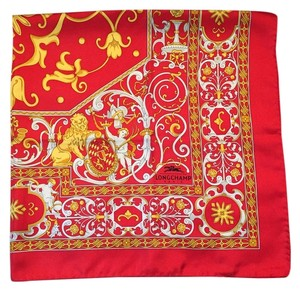 Longchamp Longchamp Red and Gold Square Silk Scarf