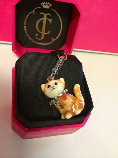 Juicy Couture JUICY COUTURE ADORABLE and RARE ORANGE & WHITE PAVE CHEST with COLLAR TABBY KITTY CAT CHARM!!