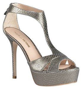 Pour La Victoire Snake Embossed Leather Pewter Sandals