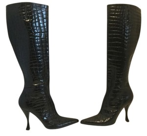 Via Spiga Italian Embossed Leather Black Boots