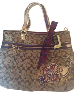 Coach Purse Fun Poppy Tote in Khaki and Purple