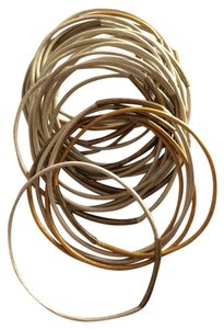 25 leather bangle bracelets with gold tubes