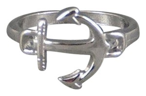 Size 7.25, Simple Charm Nautical Anchor Ring in Silver