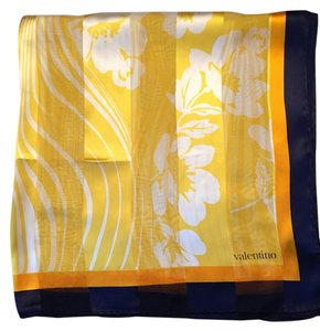 Valentino Valentino Yellow and Navy Chiffon Silk Scarf