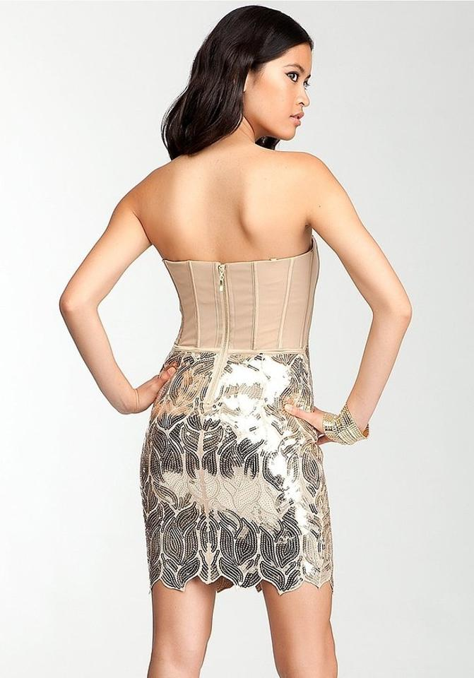 bebe Gold Sequin Party Mini Cocktail Dress Size 8 (M) - Tradesy