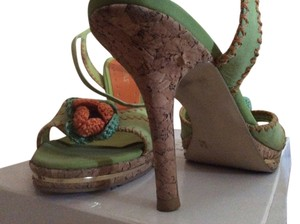 BCBGMAXAZRIA Cork Gold Leather Green & Orange Sandals