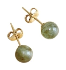 Other dark green jade stud earrings