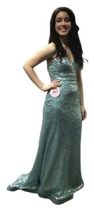 New York Fashion Designer Gown Pageant Sequened Rhinestone Long Strapless Dress
