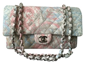 Chanel Tweed Camellia Classic Flap Shoulder Bag