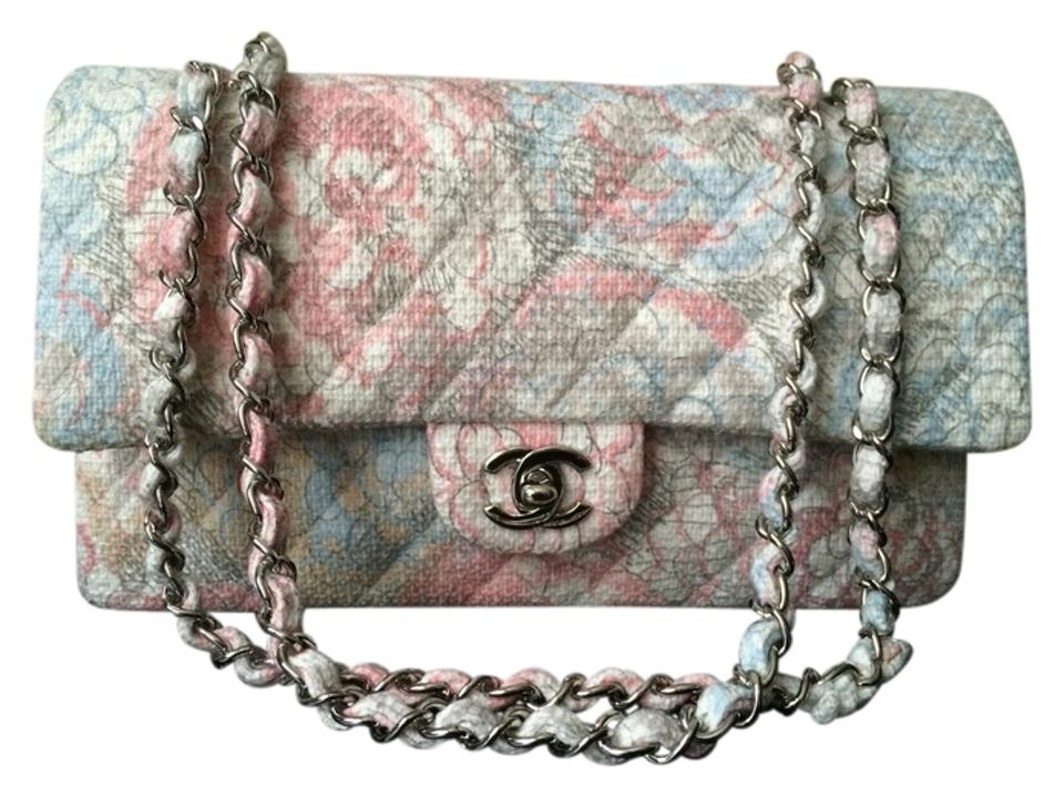 d049c9cb1399 Chanel Double Flap Classic Quilted Medium Pink and Blue Multicolor ...