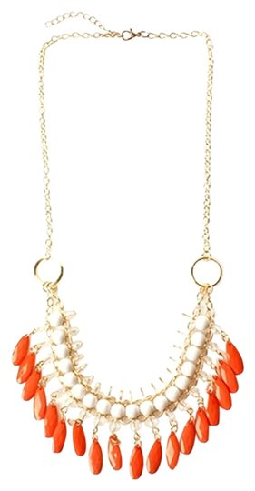 Other Coral and White Tribal Beaded Necklace and Earring Set