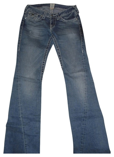 True Religion Disco Joey Big T Flare Leg Jeans-Medium Wash