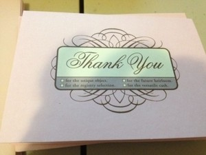Pink Cute Multiple Choice Bridal Thank You Cards- Set Of 12