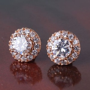 Rose Gold Stud Cz Earrings Pierced