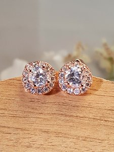 Brilliant Rose Gold Filled Cz Stud Earrings
