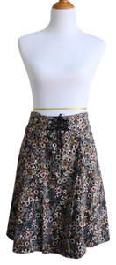Anthropologie Edme & Esyllte Velvet Floral A-line Skirt Black multi