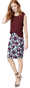 Ann Taylor LOFT Floral Pencil Mini Skirt Purple