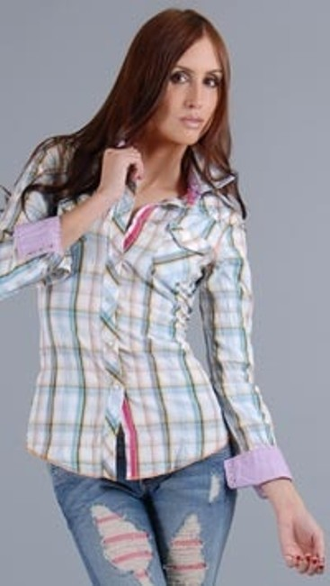 Item - Blue/Pink Plaid Pearl Snap Button-down Top Size 2 (XS)