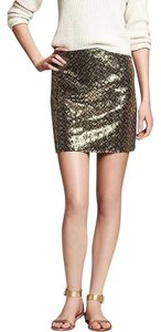 Banana Republic Sequin Mini Party Date Night Mini Skirt Gold