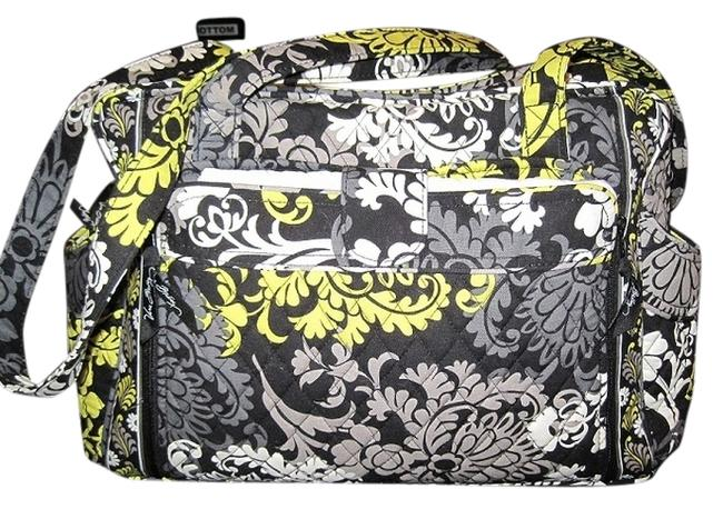 Item - Make A Change In with Changing Mat Baroque - Lime Grey White Cotton Diaper Bag