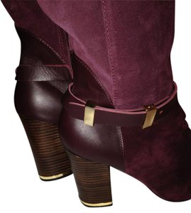 Hal Rubenstein Suede Leather Knee High Trending Wine Merlot Boots