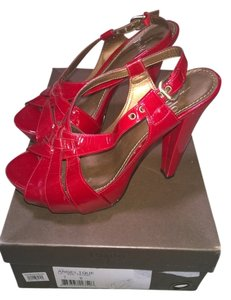 Paolo Strappy Sandals red patent leather Platforms
