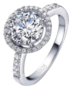 Halo Set Cz & White Sapphire Sterling Silver Ring