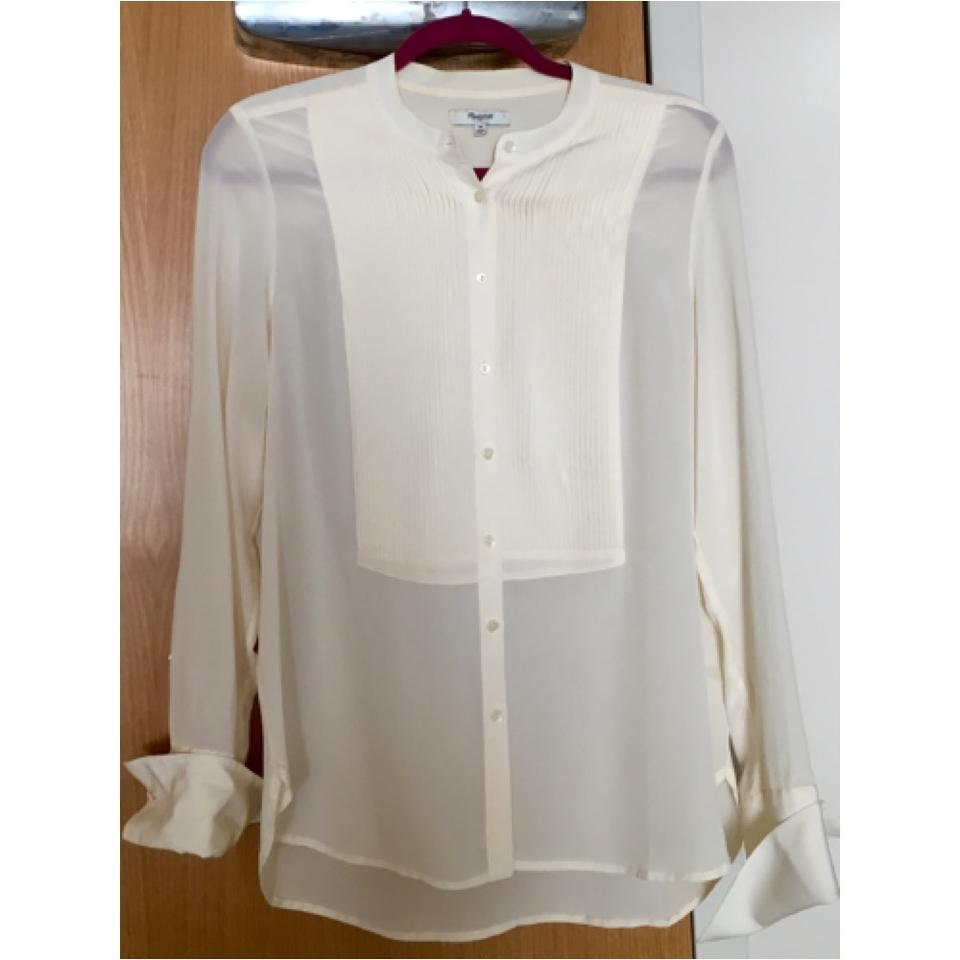 0f495f1ad726a Madewell Ivory Silk Tux Shirt Button-down Top Size 6 (S) - Tradesy
