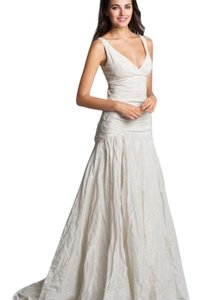 Nicole Miller Bridal Trumpet V-neck Train Dress