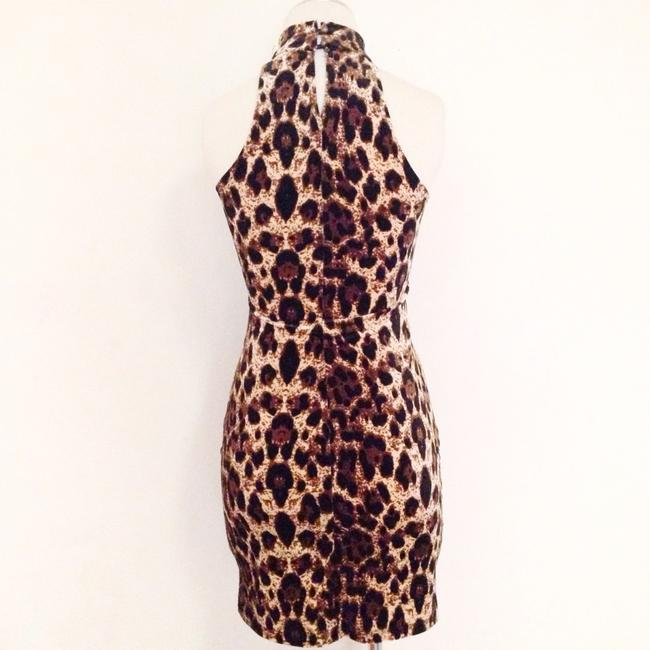 Other Velvet Retro Club Formal Leopard Turtleneck Bodycon Animal Print Dress