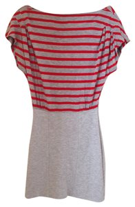 French Connection short dress Gray and red stripe Slouch Sleeve Top on Tradesy
