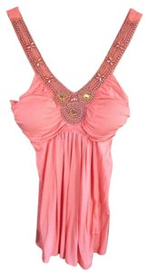 Beaded V-neck Top coral