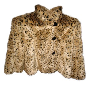 INC International Concepts Faux Fur Leopard Brown/Black Jacket
