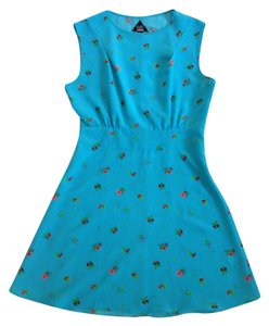 Flat Black by Pegleg NYC short dress Electric blue with red and pink flower print Side Zip on Tradesy