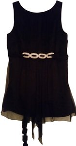 Laundry by Shelli Segal Silk Date Night Sleeveless Bling Cocktail Top black