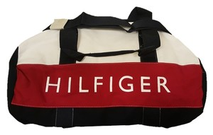 Tommy Hilfiger Tote Gym Canvas Cotton Duffle Carry-on New Red/White/Navy Blue Travel Bag