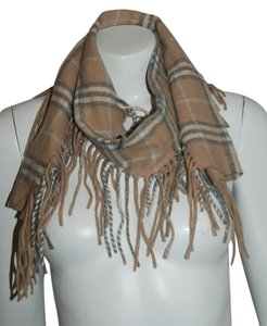 Burberry BURBERRY 62 CASHMERE BEIGE GRAY WHITE FRINGE CHECK SCARF 50