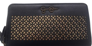 Jessica Simpson Wallet Zipper Wristlet in Black/Gold