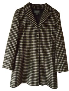Ann Taylor Geometric Black Beige Lined Pea Coat