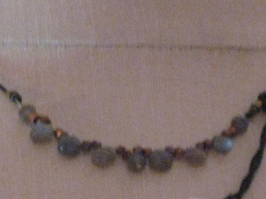 Joli Prom Joli Iridescent Gemstones/Copper Beads/Black Leather Choker