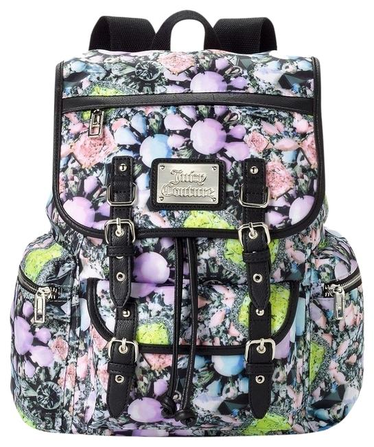 Item - Lacey Photoreal Florals Multi Color Nylon/Faux Leather Backpack