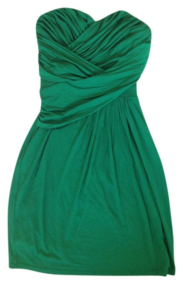453548e5c7b Express short dress Emerald green Ruched Sweetheart Top Strapless Spaghetti  Straps Draped on Tradesy Image 0 ...