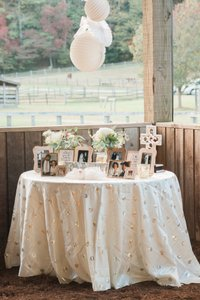 Gold Sequin-dotted Ivory Taffeta Tablecloths