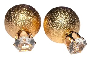 Large Double Sided Ball Crystal Stud Earrings Gold Tone J1906