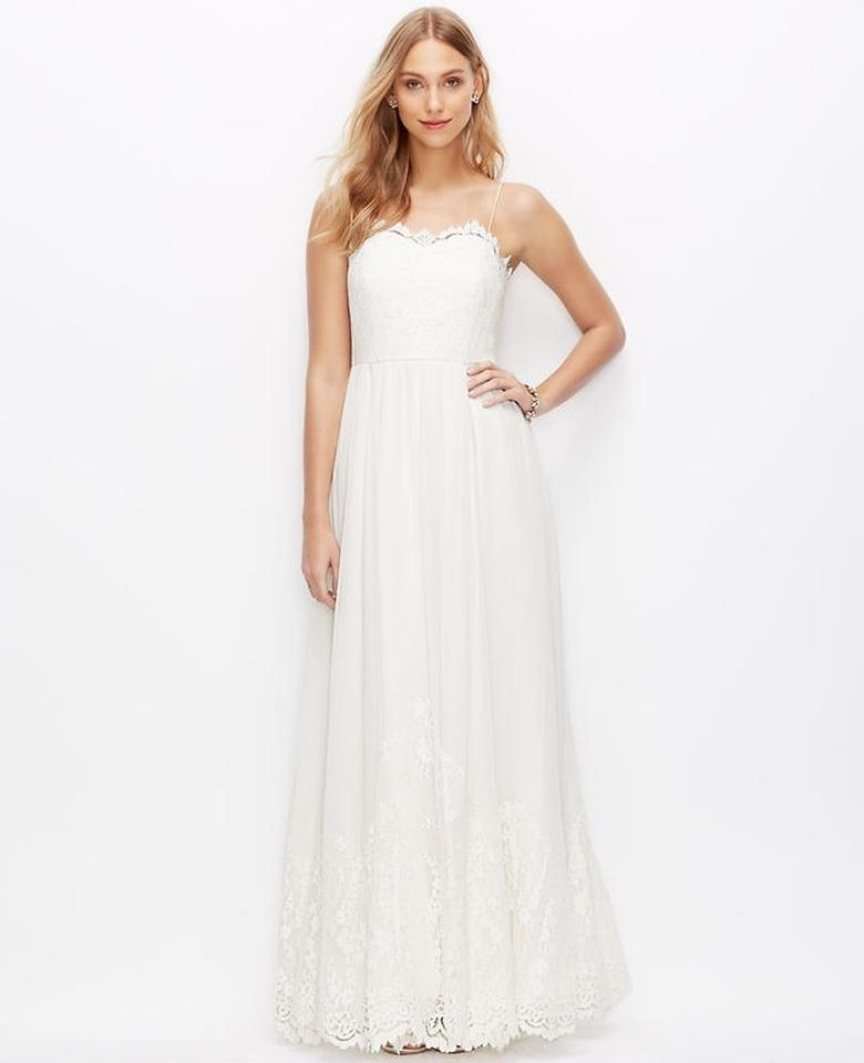 Ann Taylor Lace Georgetown Spaghetti Strap Gown Wedding Dress - Tradesy