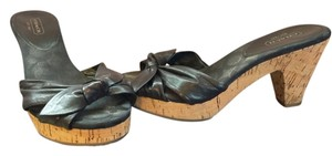 Coach Slide Kitten Heel Summer Leather Wedge Black Sandals