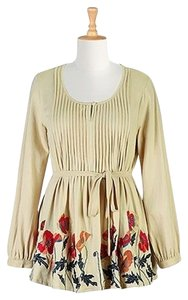 Eshakti Floral Embroidered Pleated Top