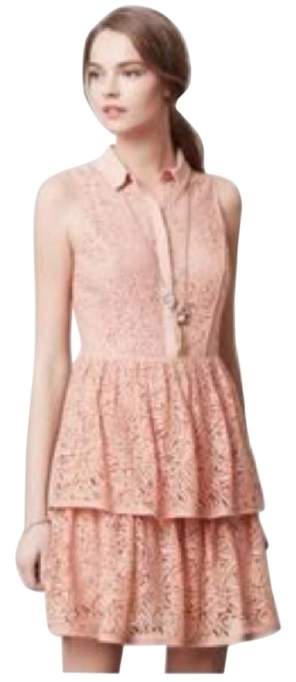 466d22b8eb93 Anthropologie Nude Tiered Lace Cocktail Dress. Size: 12 (L) Length: Above  Knee ...