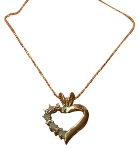 Other Emerald, Diamond, and Gold Heart Necklace
