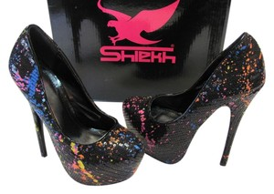Shiekh Size 5.50 M Completely Sequined Good Condition Black, Blue, Yellow, Pink Platforms